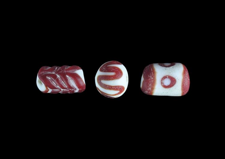 Roman Red Mosaic Bead Group