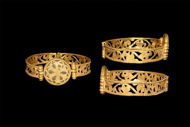 Byzantine Gold Chi-Rho Hinged Bracelet