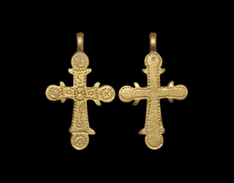 Byzantine Gold Cross with Decorated Face
