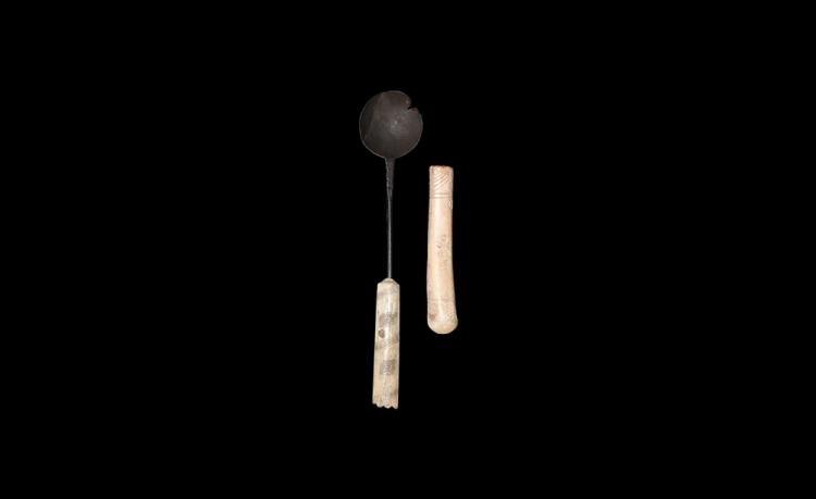 Byzantine Coptic Bone-Handled Spoon and Handle Group