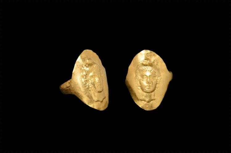 Greek Gold Ring with Aphrodite