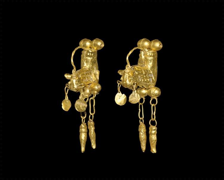 Greek Gold Bull Earring Pair