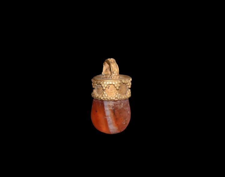 Greek Gold Pendant Carnelian Insert