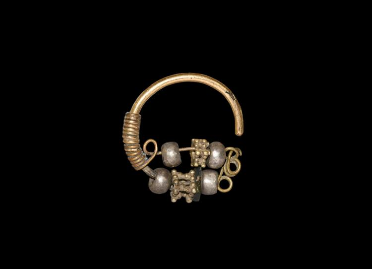 Greek Gold Earring with Silver Beads