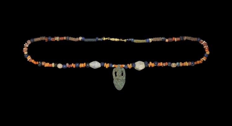Greek Bead Necklace with Amphora Pendant