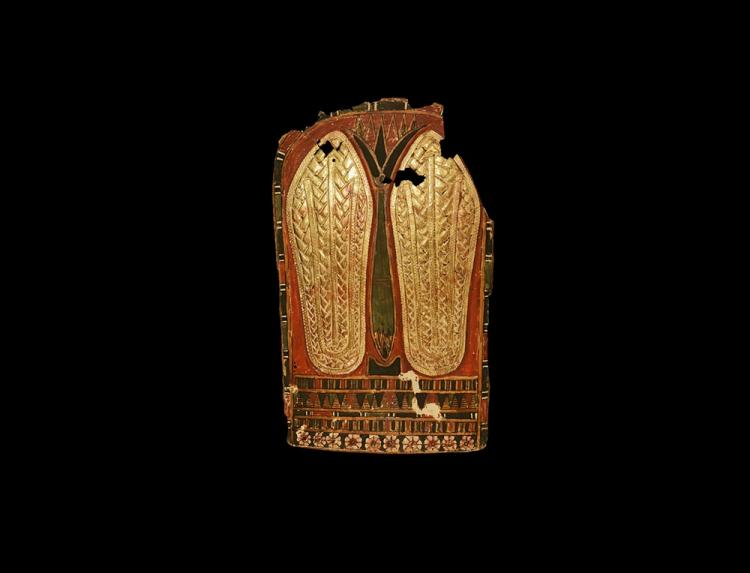 Egyptian Cartonnage Panel with Gilded Sandals