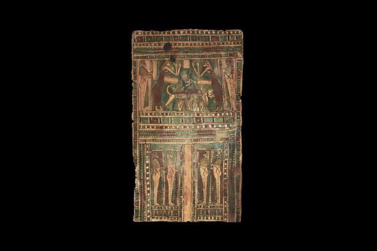 Egyptian Cartonnage Panel with Anubis