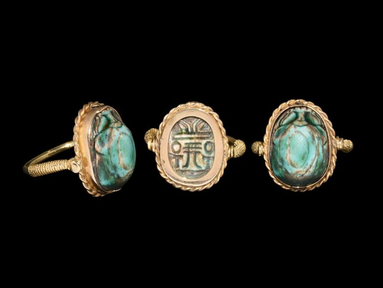 Egyptian 'All life and stability' Scarab in Gold Ring