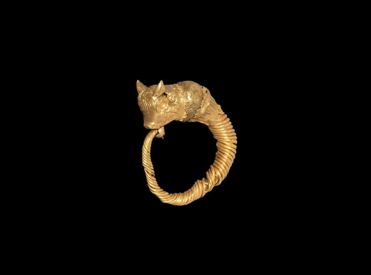 Egyptian Gold Earring with Bull