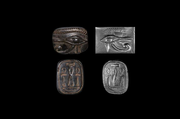 Egyptian Eye of Horus Amuletic Bead with Ankhs