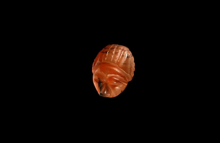 Egyptian Carved Human-Headed Scarab Bead