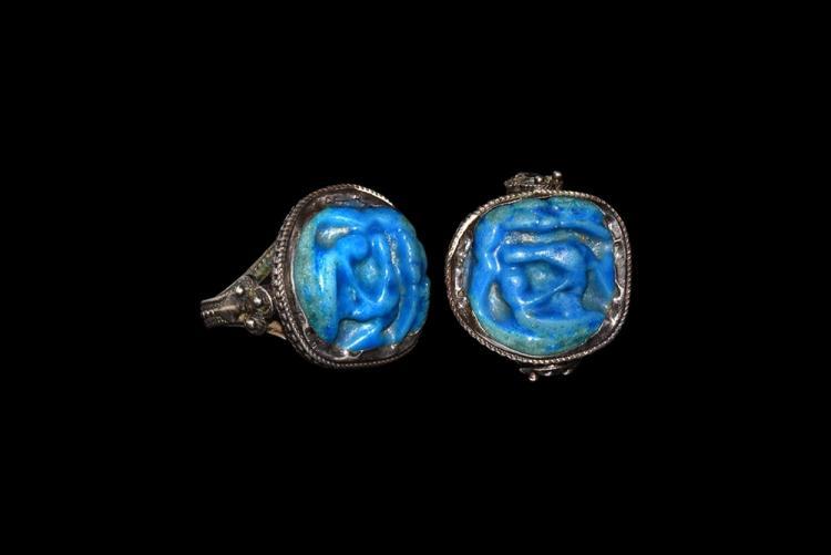 Egyptian Wedjat Eye Amulet in Silver Ring
