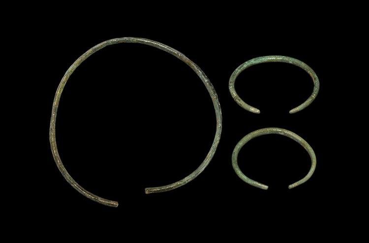 Bronze Age Torc and Bracelet Group