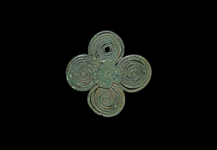 Bronze Age Miniature Four-Spiral Plate Brooch