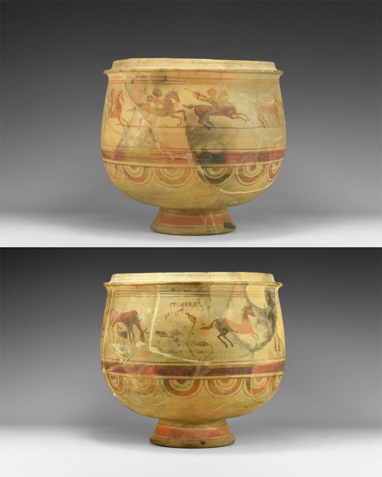 Iron Age Iberian Painted Bowl with Hunting Scene