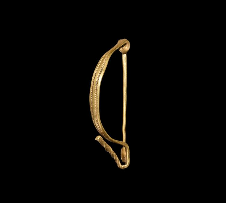 Iron Age Celtic Gold Bow Brooch