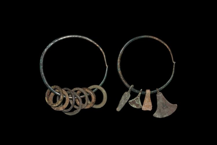 Iron Age Celtic Bracelet Pair with Ring Money and Axe Pendants