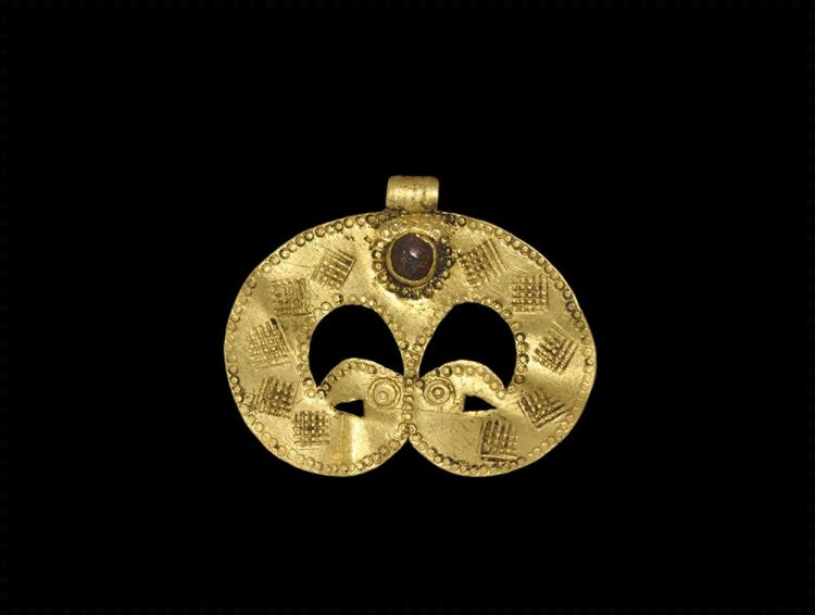 Migration Period Gold Pendant with Bird-Heads