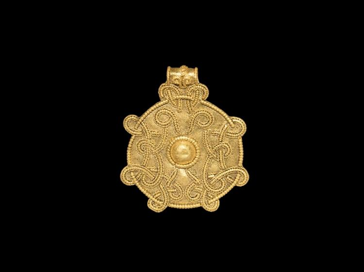 Viking Large Gold Pendant with Interlace