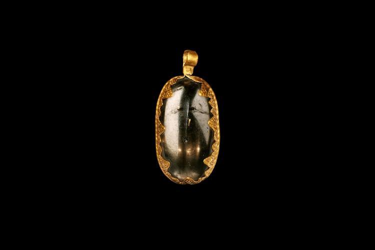 Viking or Carolingian Gold Pendant with Keeled Crystal