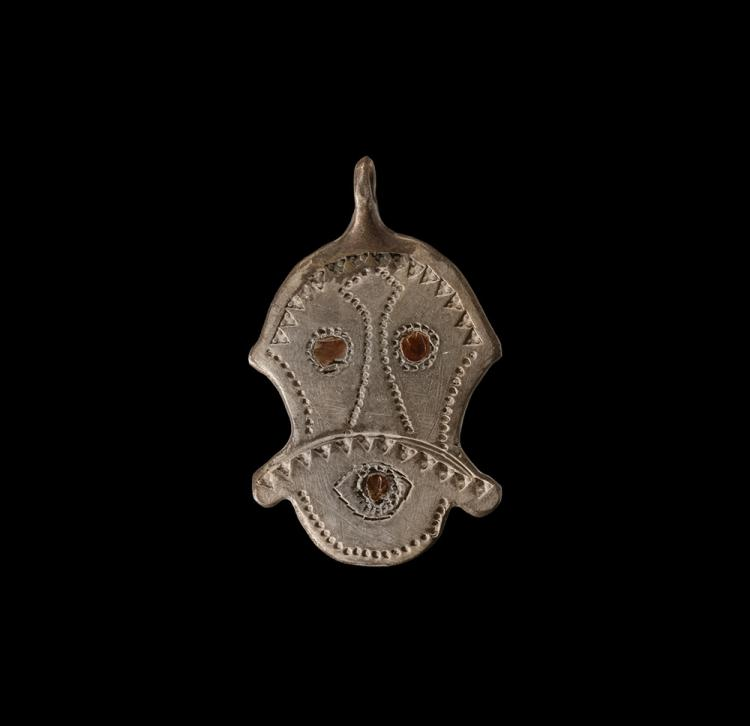 Pre-Viking Mask Pendant with Garnets