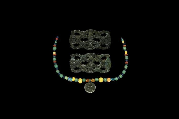 Viking Brooch and Bead Set