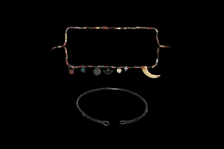 Viking Torc and Bead String with Pendants Group