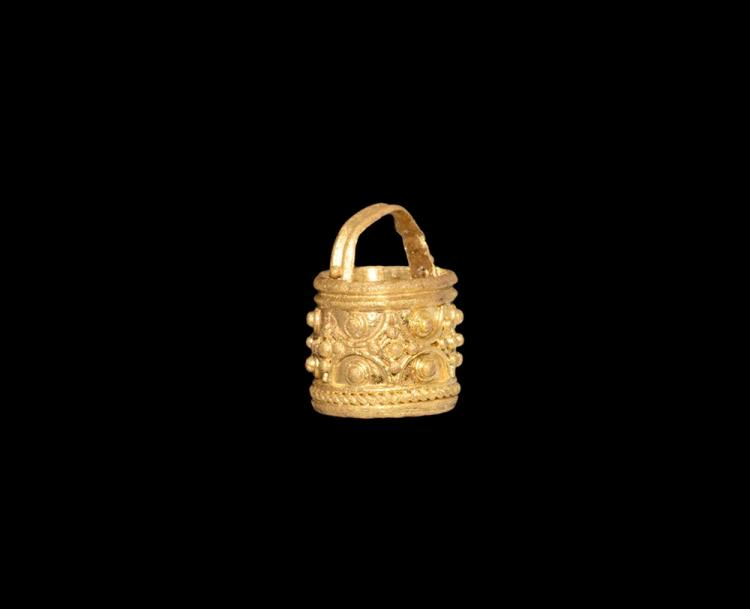 Viking Gold Filigree Bucket Pendant