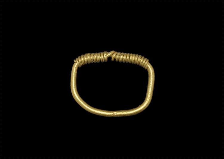 Viking Gold D-Ring with Twisted Bezel