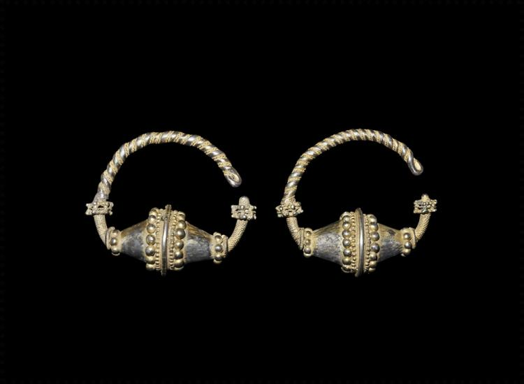 Viking Large Gilt Temple Ring Pair