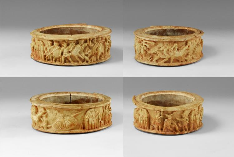 Renaissance Carved Ivory Pyxis with Scenes from the Life of David