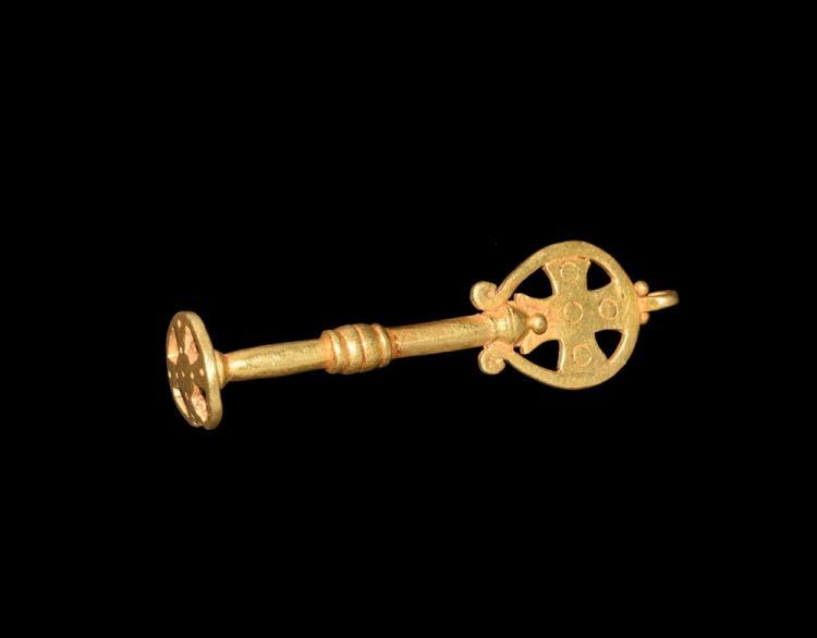 Byzantine Gold Key with Cross