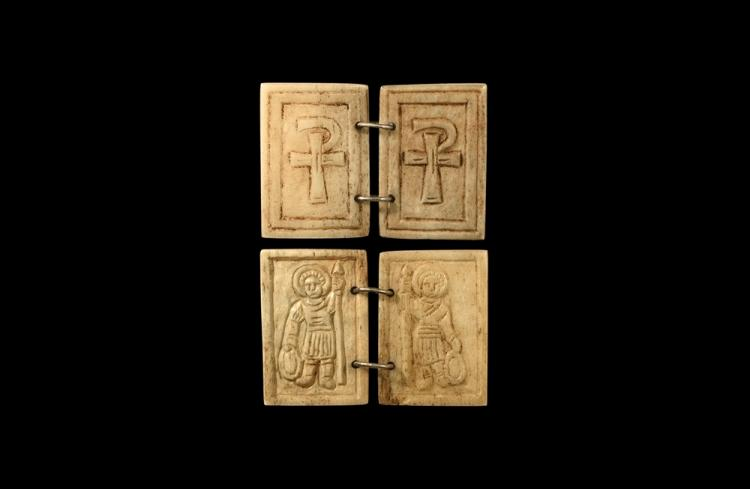 Byzantine Warrior Saint Panel Pair