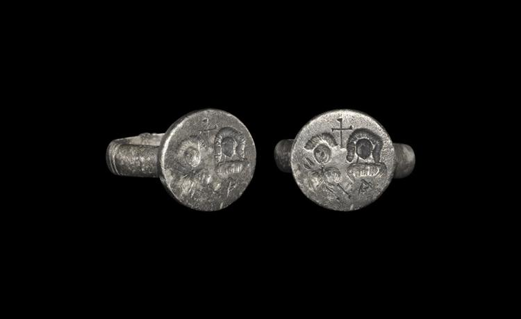 Byzantine Betrothal Ring with Cross