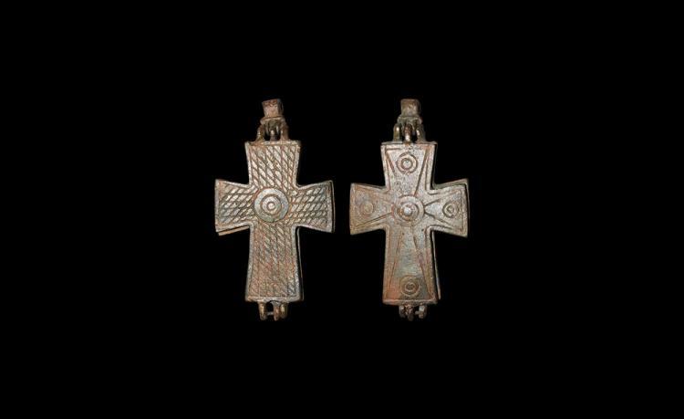 Byzantine Large Reliquary Cross Pendant