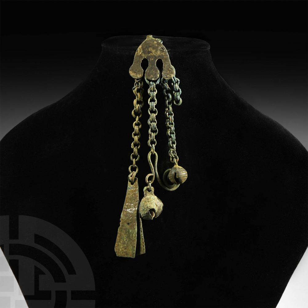 Viking Pendant with Chain Drops