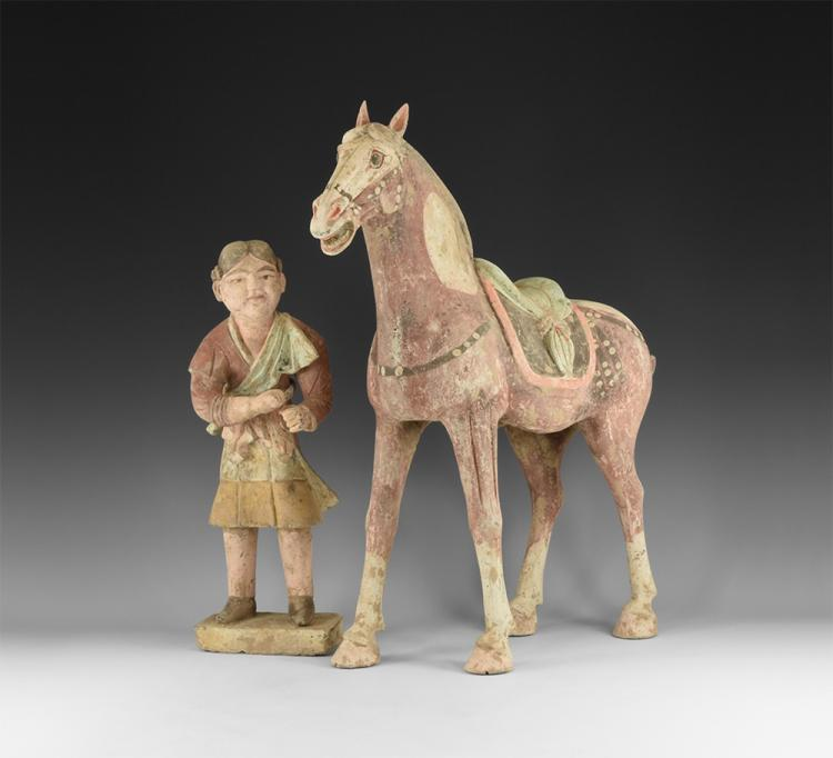 Chinese Horse and Groom Statuette Group