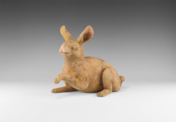 Chinese Painted Rabbit Figurine