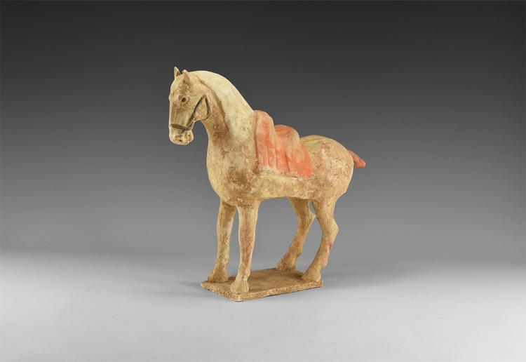 Chinese Polychrome Standing Horse