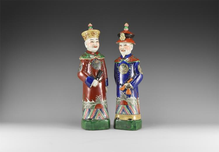 Chinese Multi Coloured Qing Emperor Porcelain Figure Pair