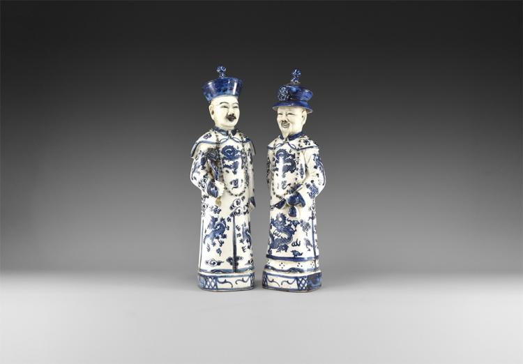 Chinese Blue and White Qing Emperor Porcelain Figure Pair