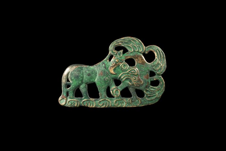 Chinese Ordos Lion and Griffin Buckle Plate