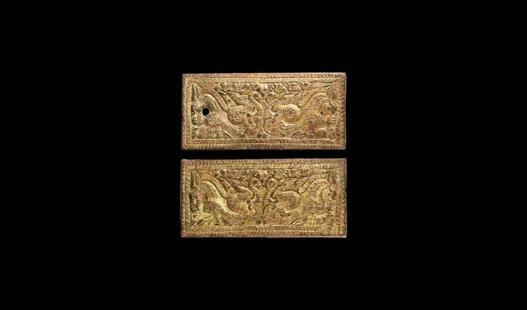 Chinese Ordos Horse Buckle Plate Pair