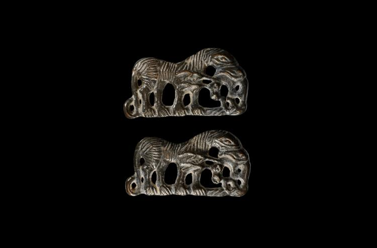 Chinese Ordos Devouring Beast Plaque Pair