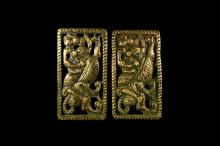 Chinese Ordos Hunter with Tiger Belt Plaque Pair