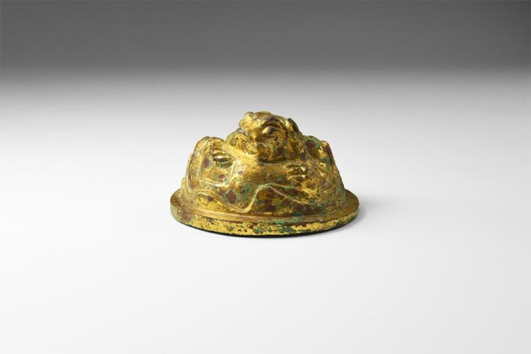 Chinese Gilt Lion Scroll Weight