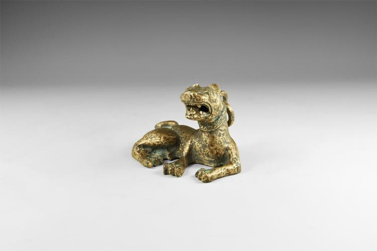 Chinese Archaic Lion Weight with Ring