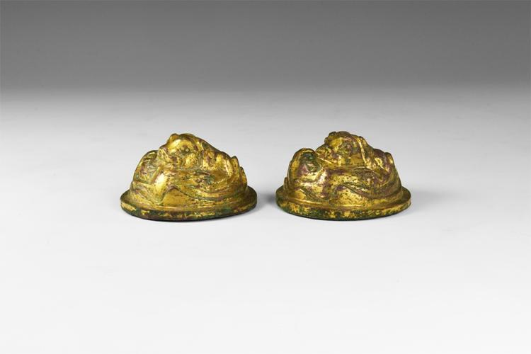 Chinese Gilt Lion Scroll Weight Pair