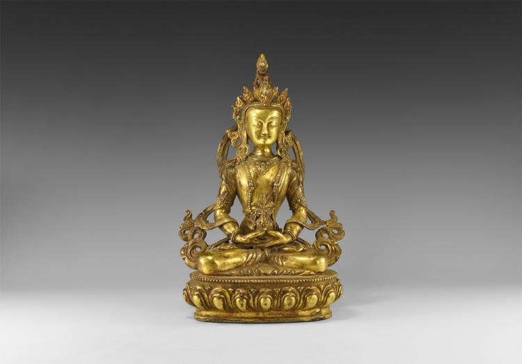 Tibetan Gilt Amitabha Statuette