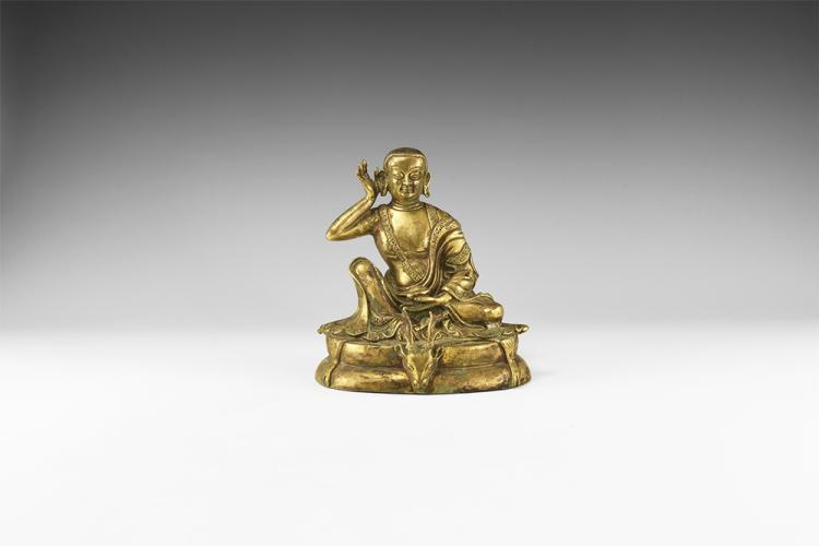 Tibetan Gilt Milarepa Statuette